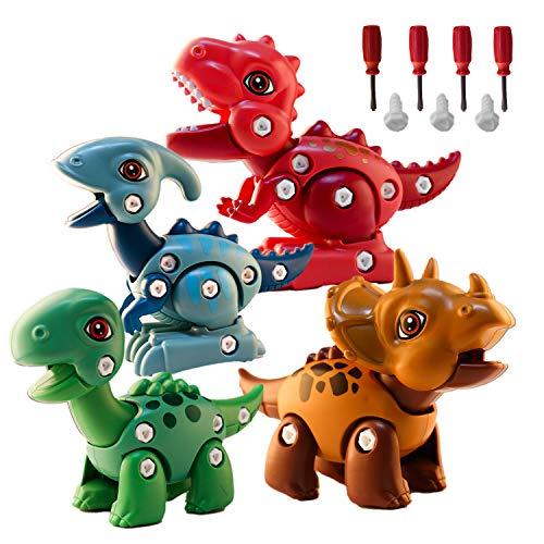 Dinosauri Giocattolo Jurassic World DIY, 4 Diversi Dinosauri per Bambini 3 4 5 6 7 8+ Anni, Dinosauri fai-da-te che Assemblano e Smontano Giocattoli, Combina Liberamente i Clori, Giocattoli Educativi