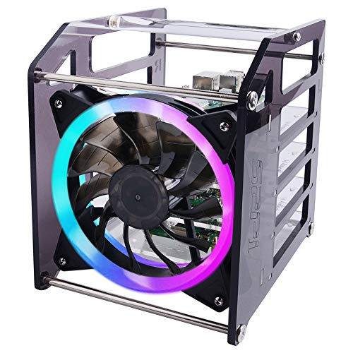 GeeekPi Raspberry Pi Cluster Case, Raspberry Pi Rack Case Stackable Case with Fan 120mm RGB LED 5V Fan for Raspberry Pi 4B/3B+/3B/2B/B+ and Jetson Nano (4-Layers)