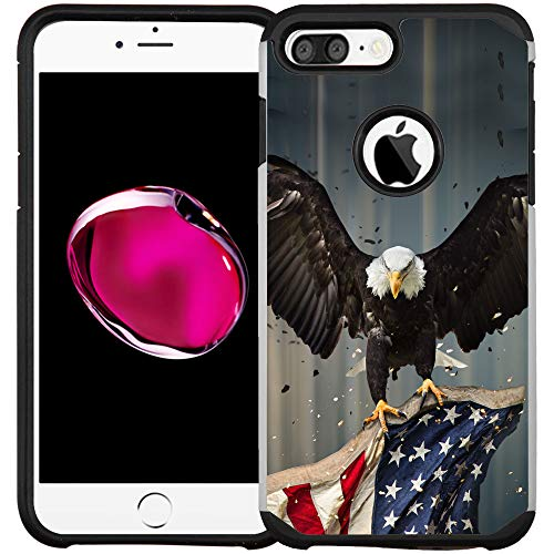 iPhone 7 Hülle/iPhone 8 Hülle, doppellagig, stoßfest, American Bald Eagle Flying with Flag
