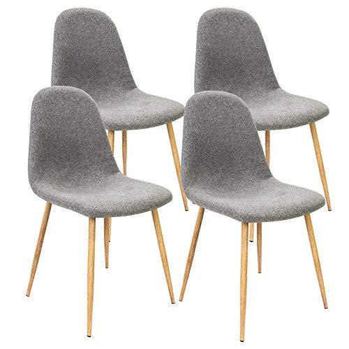 Deuba 4er Set Esszimmerstühle Küchenstühle Polsterstühle Design Bequem Gepolstert 120 kg belastbar Stoff-Bezug Hellgrau