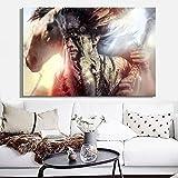 YuanMinglu Decoración del hogar de la Sala Pintura Mural sin Marco en Vestido Indio con póster de Plumas de Arte Pop Tradicional y Lienzo Imagen de Arte de Pared 50x75 cm
