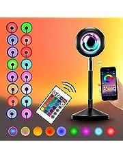 Sunset lamp Projection App Smart Control Sunset Light Music Sync Color Changing Rainbow 180° graden rotatie met Remote Control RGB Kleurrijke Projector Night LED