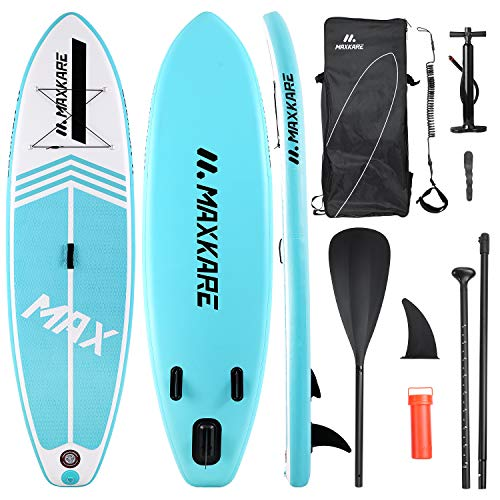 MaxKare Inflatable Stand Up Paddle Board SUP Paddle Board with Premium SUP Accessories & Waterproof Portable Bag Non-Slip Deck Youth & Adult Standing Boat in River Ocean and Lake
