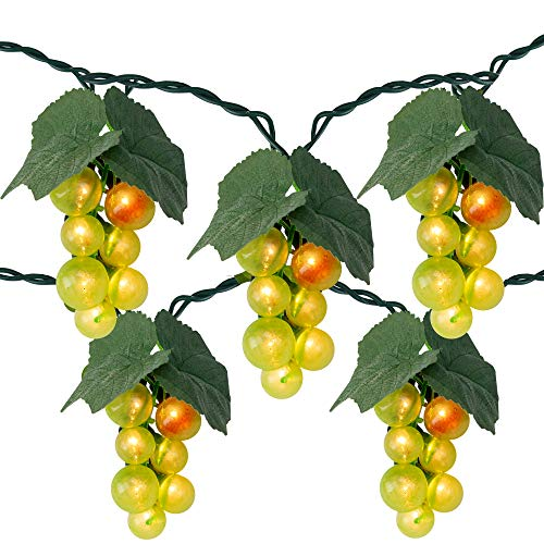 5-Count Green Grape Cluster Outdoor Patio String Light Set, 6ft Green Wire