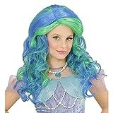 Widmann 74970 Kinderperücke Meerjungfrau, grün/blau, One Size