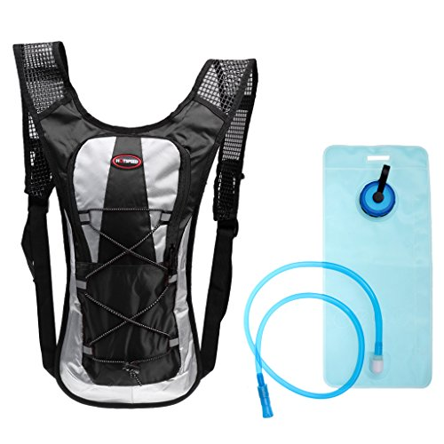 sharprepublic Waterproof Running Hiking Cycling Hydration Backpack Pack 2L Water Bladder Bag - Black