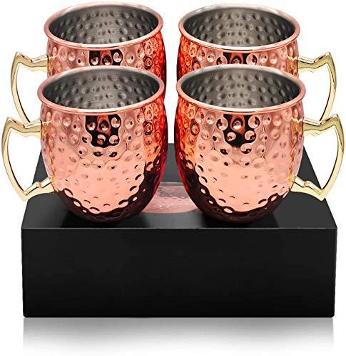 MYHGRC Moscow Mule Becher, Kupferbecher Moscow Mule Mug Kupfer Becher Set 4er, Große Kapazität 530 ML, Handgemachter Rein mit Hammerschlag-Effekt Geschenk