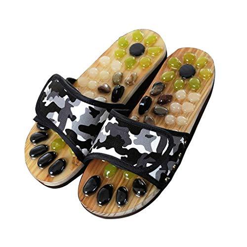 WYJBD La acupresión Terapia de Masaje Deslizadores de la Sandalia de los Hombres Pies giratoria masajeador de pies Zapatos Unisex (Size : Black:37-38)