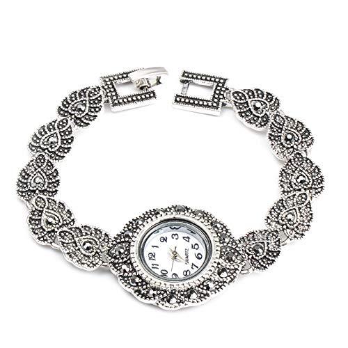 Neue Modedesigner Promotion Antike Tibetische Silber Armreifen Kristall Armband Armbanduhr Für Frauen Vintage Schmuck