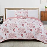 Great Bay Home 2-Piece Reversible Quilt Set with Shams. All-Season Coastal Beach Theme Bedspread Coverlet. Fenwick Collection (Twin, Coral)
