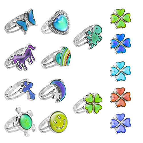 Hifot Adjustable Mood Rings Set 10pcs, Unicorn Butterfly Dinosaur ColorChangingMood Ring for Women Men Girl, Birthday Party Favors and Party Bag Fillers