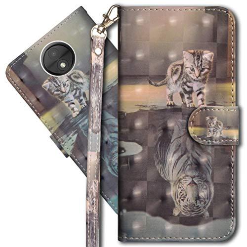 MRSTER Moto C Handytasche, Leder Schutzhülle Brieftasche Hülle Flip Hülle 3D Muster Cover mit Kartenfach Magnet Tasche Handyhüllen für Motorola Moto C. YX 3D - Cat Tiger