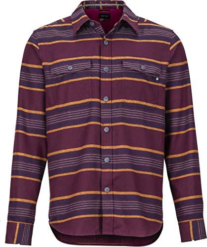Marmot Zephyr Cove Mid WT Flannel LS Tee-Shirt à Manches Longues Homme, Aubergine, XXL