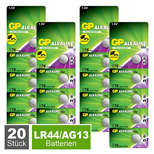 GP Extra LR44 Knopfzellen Alkaline, Batterien AG13 / A76 / L1154f, 1,5V (Spannung 1,5 Volt) 20 Stück Knopfbatterien quecksilberfrei (Original Blisterverpackung, einzeln entnehmbar)