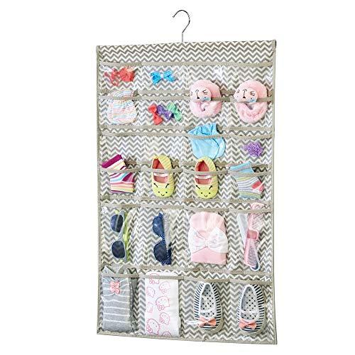 mDesign – Organizador de Tela para Colgar Colocar articulos de bebés – El Organizador de armarios 48 Compartimentos – Color: Gris Pardo/Crema