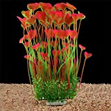 QUMY Large Aquarium Plants Artificial Plastic Fish Tank Plants Decoration Ornament Safe for All Fish (Pink, A)