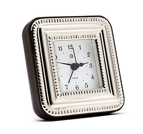 SEC OF FLORENCE Solid 925 Sterling Silber Table Alarm Clock 7504/6 x 6 cm - 2,3 Zoll x 2,3 Zoll