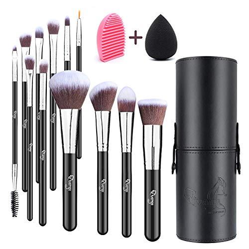 Qivange Pinceau de maquillage Pinceaux pour les yeux Pinceau de maquillage synthétique, avec éponge à mélanger, support et nettoyant pour pinceau de maquillage (12 pcs, noir avec argent)