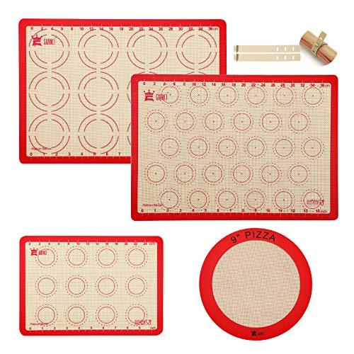 4-Piece Silicone Baking Mat Set,GUANCI 2Pcs 16-1/2'x11-5/8'Rolling Macaron Baking Mat&1Pcs 11-3/4'x8-1/4'Reusable Baking Mat&1Pcs 9'Round Pizza Baking Mat for Rolling Macaroon/Pizza/Cookie Making
