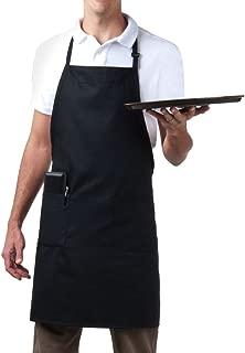Bib Aprons-MHF Brand-1 Piece-new Spun Poly-Commercial Restaurant Kitchen- Adjustable-Full length-3 Pockets (Black)