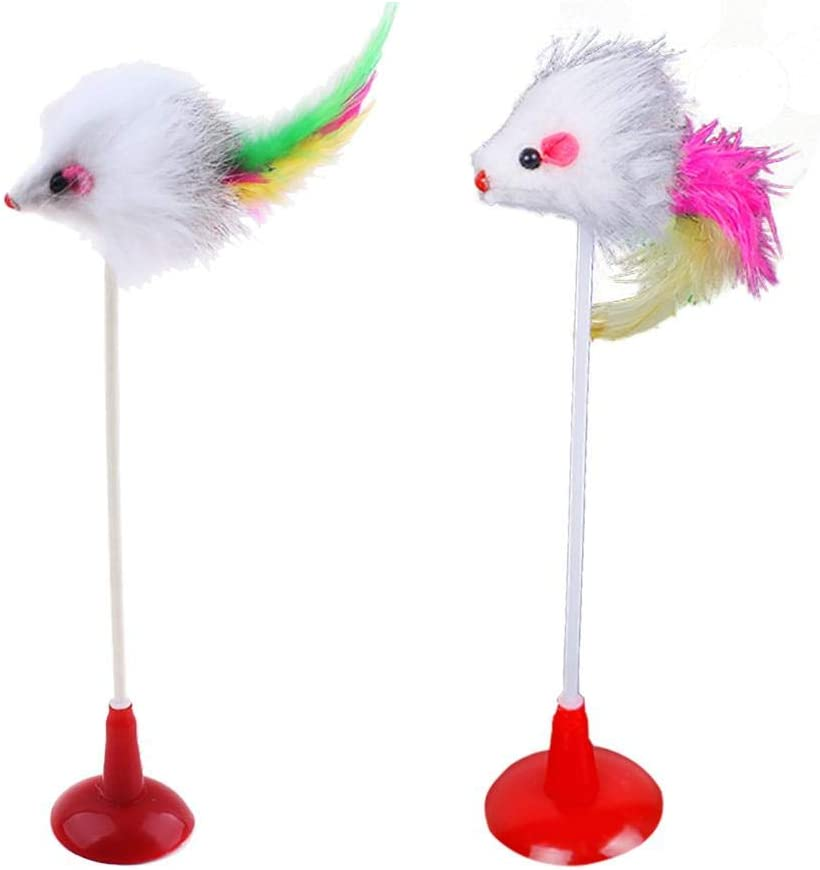 WinnerEco 2pcs Funny Cat Toy Max 53% OFF Feather Bottom Plush Mouse Sucker f Sales for sale