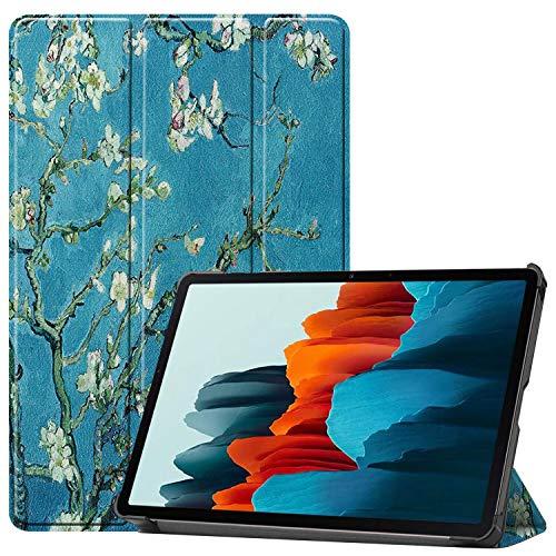 Brifu - Funda protectora compatible con Samsung Galaxy Tab S7 SM-T870/SM-T875 (11 pulgadas), Con función de soporte , diseño de flores de albaricoque + 1Xpelícula protectora de cristal templado.