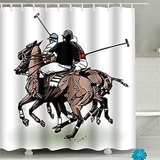 FAITOVE Polo Players Shower Curtain Sets with Hooks Waterproof Bathroom Decor 59