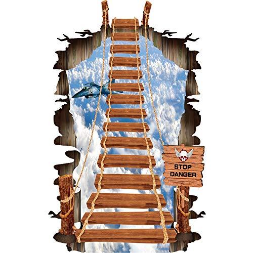 WENYOG Escaleras Pegatinas Cable 3D Cable Puente Escalera Etiqueta de Pared Pequeño Piso Pequeño Pegatinas Terreno Dormitorio Sala de Estar Decoración Calcomanías (Color : As pic, Size : As pic)