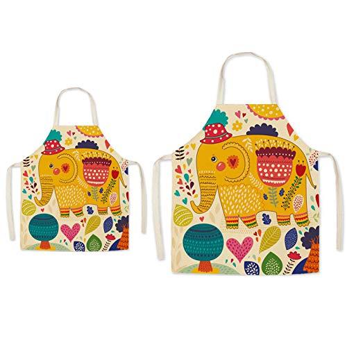 Eyand Tablier pour Parents et Enfants pour la Cuisine - Tablier de Cuisine en Coton et Lin à Motif Super Mignon pour Maman Enfants, Tablier de Jardinage de Peinture de Cuisine (éléphant)
