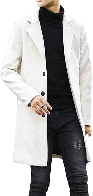 Zjeia Men Casual Single Breasted Lapel Neck Pocket Wool Blend Coat Jacket