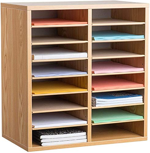 AdirOffice Wooden Literature Organizer Sorter - Stackable Mail Craft Paper Storage Holder with Removable Shelves for Office, Classrooms, and Mailrooms Organization (16 Compartment, Medium Oak)
