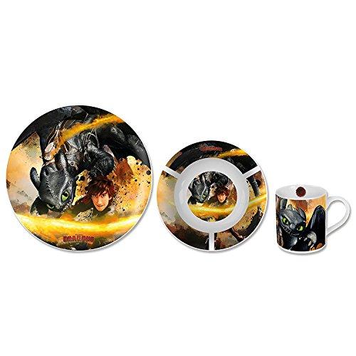 Dragons Ensemble de vaisselle en porcelaine 3 pièces
