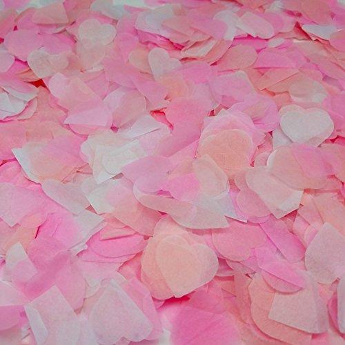 Ldoux 6000 Stück 1 Zoll Papier Konfetti Herz Tissue Konfetti Party Hochzeiten Feiern Valentinstag Kreis Papier Tabelle Konfetti, 3 Farben, cremeweiß, rosa und tiefrosa