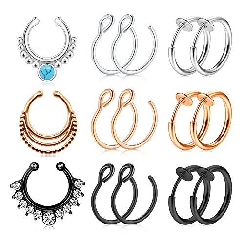 JFORYOU 15PCS Fake Nose Rings Stainless Steel Faux Nose Piercing Jewelry Fake Nose Hoop Ring Clip on Circle Hoop Rings No Pierced Septum Nose Ring Women Men