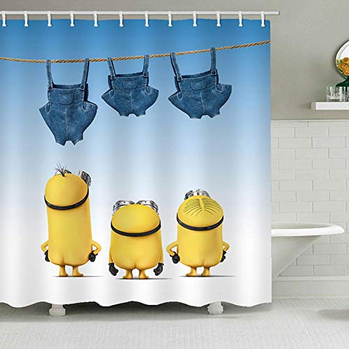 None brand Duschvorhänge Mischievous Minions Series Duschvorhänge Badvorhang Polyester Wasserdichter Badvorhang-180 cm x 180 cm