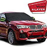 Fedciory Car Windshield Snow Cover,4-Layer Protection&Double Side Design,Snow, Ice, Frost,UV Full Protection,Extra Large & Thick for Most Vehicle(88'x50')