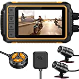 ZOMFOM Dash Cam Waterproof Recording Camera for Motorcycle, 3'' LCD Front and Rear FHD 1080P Waterproof Lens Wide Angle 150 with Wi-Fi, GPS, Wired Control, EIS and G-Sensor, Max up to 256GB