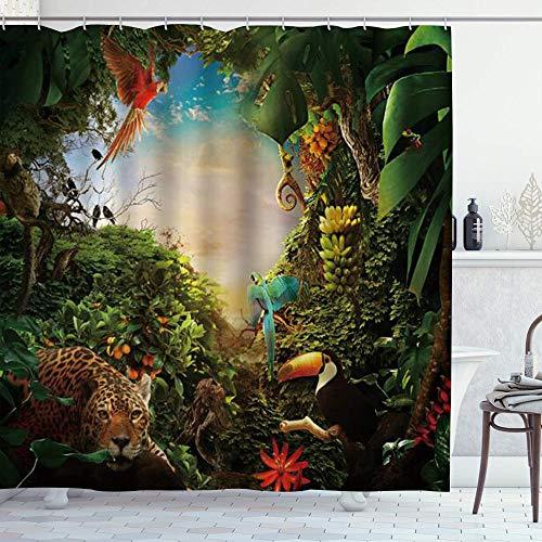 DYCBNESS Duschvorhang,Tropischer Regenwald Wildtier Vogel Leopard Papagei Vogel Beere Dschungel Fantasie Biomes Natur,Langhaltig Hochwertig Bad Vorhang Wasserdichtes Design,mit Haken 180x180cm