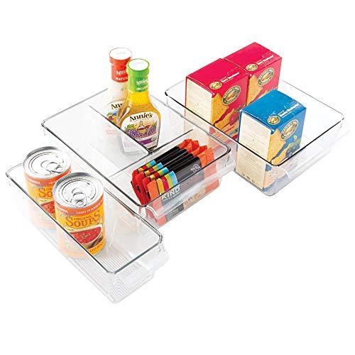 mDesign Juego de 3 organizadores de Cocina – Caja de almacenaje Ideal para Cocina, armarios o Nevera – 3 tamaños – Cesta con Asas integradas y diseño Abierto – En plástico – Transparente