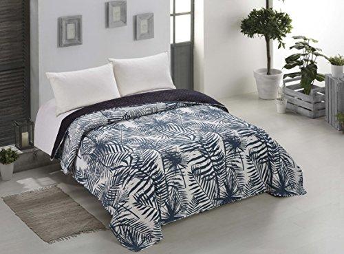 AmeliaHome 00264 Tagesdecke 170x270 cm weiß indigo graphit Bettüberwurf zweiseitig Steppung leicht zu pflegen Blätter Pflanzenmuster dunkelblau marinenblau anthrazit Bush