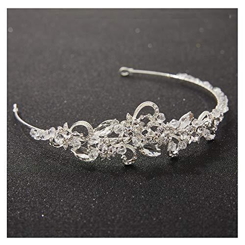 SWEETV Bridal Headband Silver Wedding Tiara Headband Rhinestone Bride Headpiece Hair Accessoires for Women