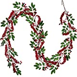 Artiflr 6 feet Red Berry Garland with Green Leaves Wired Christmas Berry Garland Rustic Berry Twig Artificial Garland for Holiday Winter Season Mantel Fireplace Table Runner Centerpiece Decoration