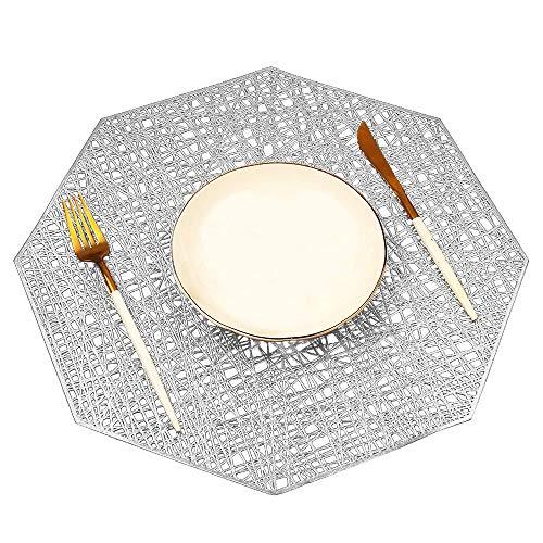 MANGATA Set de Table, PVC Set de Table Antidérapant Lavable Chaleur Résiste Set de Table (Argent-Octogone, 8 Pièces)