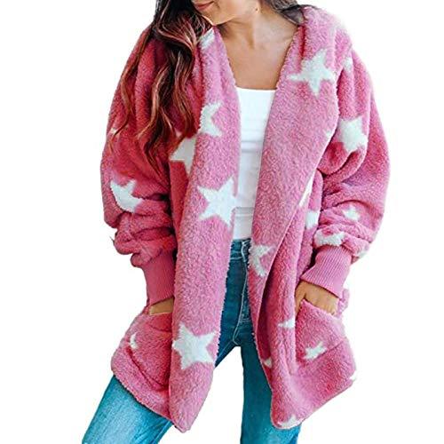 VESNIBA Chaqueta de forro polar para mujer, imitación de leopardo, costuras, manga larga, cárdigan con capucha, suelta, de punto Rosa. Small