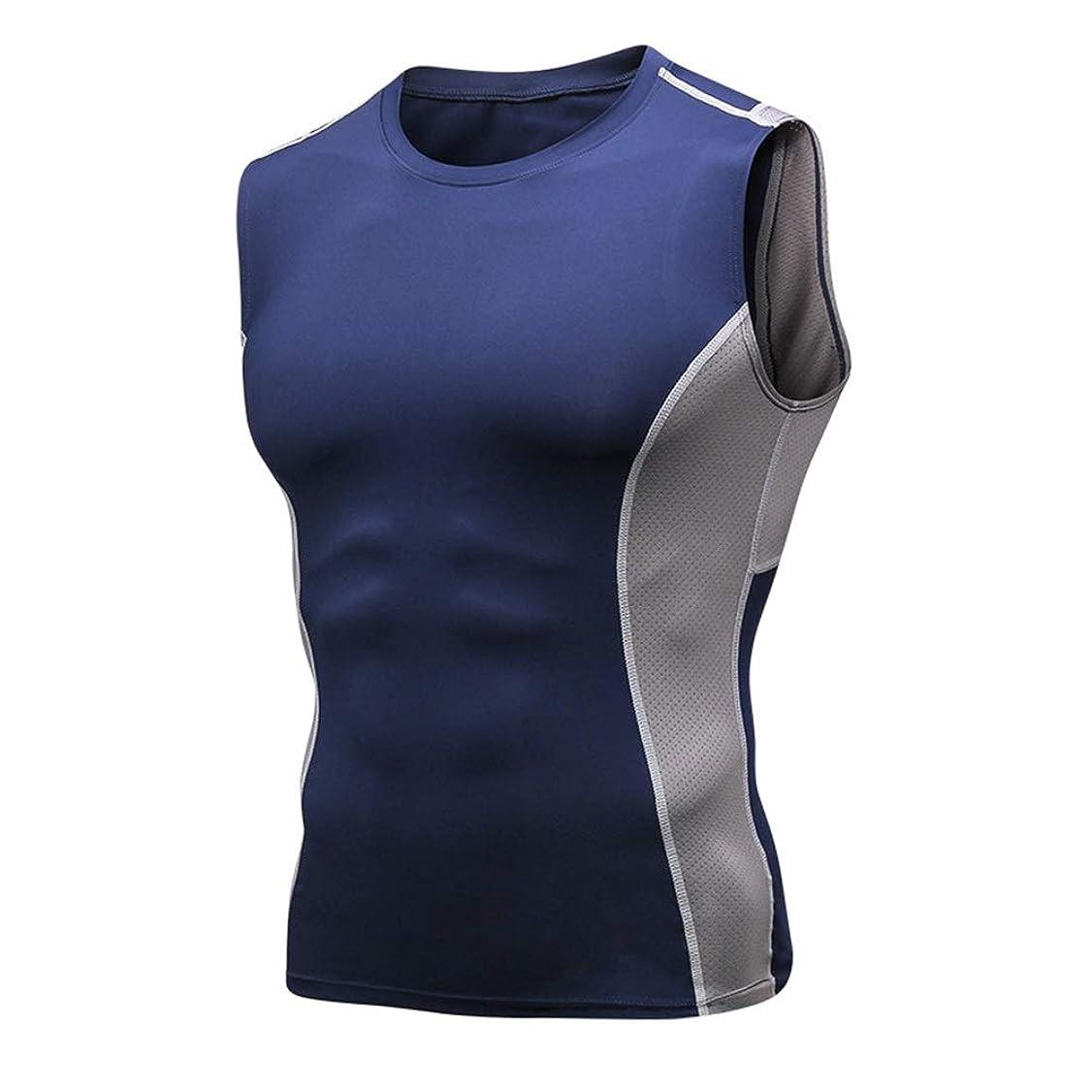 スカープその結果がっかりしたフィットネス服トップ ワークアウトトップスを実行しているメンズクールドライフィットマッスルジムトレーニングタンクトップノースリーブ 筋トレ ストレッチ スポーツウェア ボディビル (Color : Blue, Size : XL)