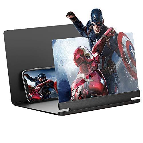 12 'Lupa de pantalla, amplificador de pantalla para movil pantalla amplificador smartphone HD de Plegable, adecuada para ver videos de películas en todos los teléfonos inteligentes