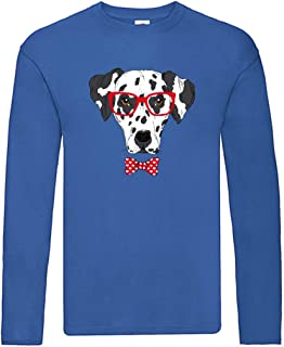 Camiseta de manga larga – dálmata perro gafas lazo – manga larga unisex para niños – niños y niñas