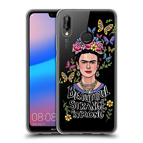 Official Frida Kahlo Beautiful Woman Art & Quotes Soft Gel Case Compatible for Huawei P20 Lite