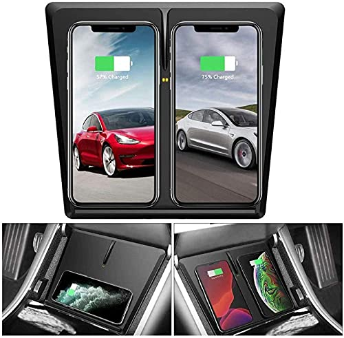 Cargador Inalámbrico para Coche para Tesla Model 3 con 3 Bobinas Horizontal/Vertical Carga Rápida Almohadilla de Carga Inalámbrica Dual Qi para Tesla Model 3 Accesorios para iPhone Samsung Huawei