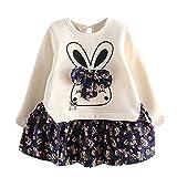 Proumy ◕ˇ∀ˇ◕ Kleinkind Kinder Mädchen Cartoon Kaninchen Hase Floral Prinzessin Party Kleid Kleidung Mädchen Kleid Floral Bowknot Rock Langarm gespleißt Kleid(Blau,6 Years)